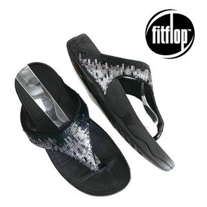 FitFlop Electra Strata Flip Flop Sequin Sandals 8